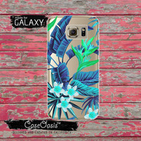 Blue Tropical Leaves Pattern Floral Flowers Summer Inspired Tumblr Clear Galaxy S6 Case and Clear Galaxy S6 Edge Case Custom Samsung Case