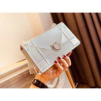 DIOR selling fashionable pure color patent-leather lady casual shopping shoulder bag Silvery