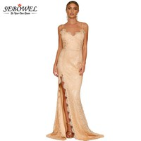 SEBOWEL Long Lace One Side Slit Sexy Backless Wedding Party Gown