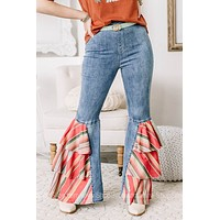 Makes You Dance Ruffle Serape Pull On Flare Jeans