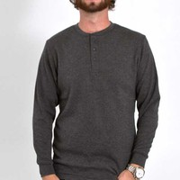 1897 Mens Long Sleeve Henley Thermal Shirt in Charcoal GLMTHH-430-CHAR