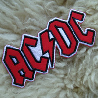 1 piece ac-dc rock music band embroidered iron on sew on patch badge applique for fabric garment apparel hat shirt shorts