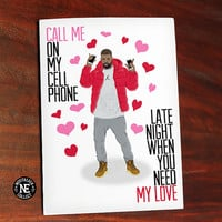 Drake Valentines Day Greetings Card - Valentines Hotline Bling - 5X7 Inch Card