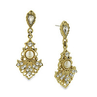 Downton Abbey® Crystal and Pearl Accented Gold-Tone Fan Drop Earrings