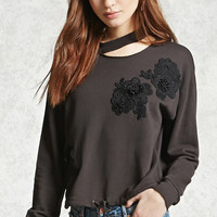 Embroidered Flower Pullover