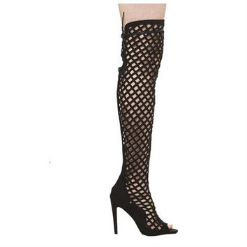 Cape Robin Lasercut Suede Over The Knee Peep Toe Boots - Black