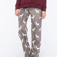 Cosmic Love Polar Deer Womens Fleece Pants Gray  In Sizes