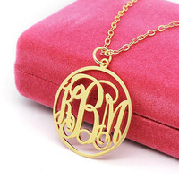 Circle Monogram Necklace,Monogrammed Pendant 3 Initials Three 18k Gold Plated,sterling silver
