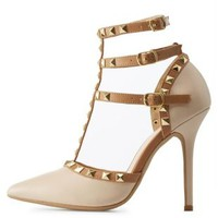 Nude Combo Studded Strappy Pointed Toe Pumps by Charlotte Russe