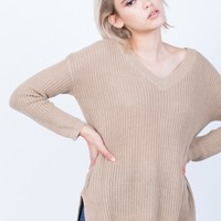 Simple Chunky Knit Sweater Top