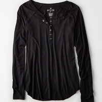AEO Soft & Sexy Long-Sleeve Henley T-Shirt, True Black
