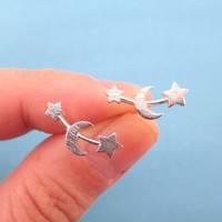 Crescent Moon and Stars Stud Earrings in Silver | Allergy Free