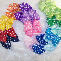 Sale 5 for 10.00 Infant pinwheel polka dot hair bow regularly priced at 4.00 each Baby bow Toddler 4.5 to 5 inch pinwheel bow 11 colors