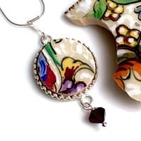 Broken China Jewelry, Deruta Pottery Pendant Necklace, Italian Pottery, Sterling Silver, One of a Kind, Gift From Italy, Birthday Gift
