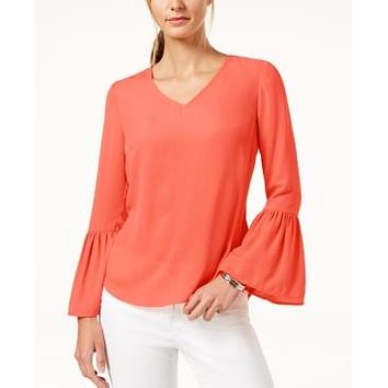 NY Collection Womens Petites Sheer Bell Sleeves Pullover Top