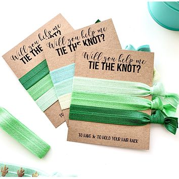 Will you help me tie the knot Bridesmaid Proposal Hair Tie Favor, Green Earthy