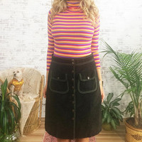 Vintage 1980's RALPH LAUREN Polo Snap Button Chocolate Brown Boho Skirt || Size Medium Waist 28 29 or 30