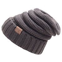 CC labeling knitted wool cap caps outdoor warm hat Dark gray