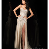 (PRE-ORDER) Tony Bowls 2014 Prom Dresses - Champagne Sequin Beaded Strapless Sweetheart Tulle Gown