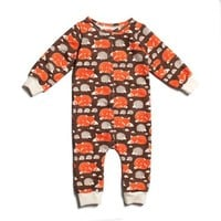 Brown Foxes & Hedgehogs Jumpsuit - Organic French Terry