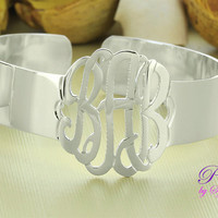 Personalized Monogram Cuff Bracelet, Gold over Silver, up to 3 Initials, Girls Accessories, Gift for Women, Gift for Mom, Silver Cuff Bangle