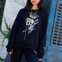 """""""Boy London"""" Casual Crown Graffiti Unisex Multicolour All-match Fashion Letter Logo Embroidery Long Sleeve Sweater Tops"""