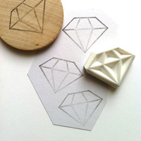 diamond rubber stamp. hand carved rubber stamp. handmade. large diamond. mounted. no2