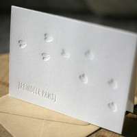 Letterpress Christmas Cards - Reindeer Paws holiday cards, set of 6