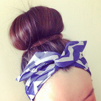 Purple Chevron Stripe Dolly Bow Headband