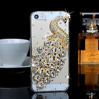 """iPhone 6 Plus Case, MC Fashion Peacock Crystal Rhinestone 3D Diamante Hard Shell Phone Case Compatible for Apple iPhone 6 Plus 5.5"""" (2014) ONLY (Silver)"""