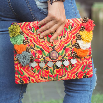 Handmade Ethnic Clutch Bag Hmong Embroidered in Yellow