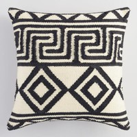 Black and Ivory Geometric Key Indoor Outdoor Throw Pillow