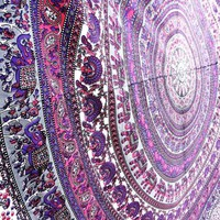 Pink Floral Peacock Elephant Mandala Tapestry Wall Hanging Dorm Decor Bedspread