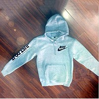 "N ""NIKE"" ""Just do it"" Sleeve Women Men Fashion Hooded Top Pullover Sweater Sweatshirt Grey F"