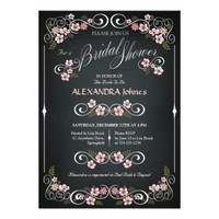 Floral Chalkboard Chic Vintage Bridal Shower Personalized Invitations from Zazzle.com