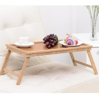 yazi Vintage Natural Bamboo Folding Tea Coffee Table Computer PC Desk Tray Bedroom Living Room Home Office Furniture 50x30CM