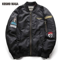 Cool KOSMO MASA 2017 MA1 Military Jacket Coat For Men Regular Cotton Winter Air Force Pilot Man Thick Space Hooded Jackets MJ0057AT_93_12