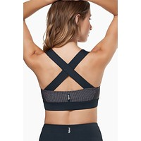 Aria Criss Cross Back Sports Bra - Blue Graphite