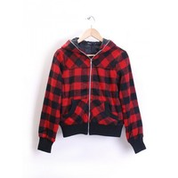 Women Red Wool Blends Zipper Hoodie Lady Outfit S/M/L@YF822r