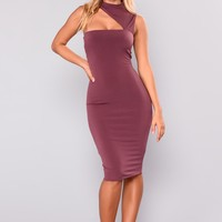 Give Me All You Got Cut Out Dress - Plum