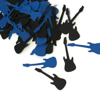 Rock n Roll birthday decorations, guitar confetti, ready in 3-5 weekdays, blue and black, rockstar, musicians wedding, bachelor party