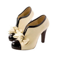[US$ 26.09] PU Leather Upper High Heel Ankle Boot With Bowknot Fashion Shoes