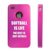 Apple iPhone 4 4S Hot Pink D7622 Aluminum & Silicone Case Cover Softball Is Life