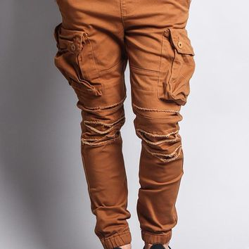 Big Cargo Jogger Pants With Distressed Knee