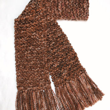 Brown Scarf Chunky Hand Knit Men Women Winter Scarf 6 ft long