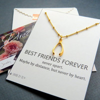 Best Friends Forever wishbone necklace with bff quote card, great bff necklace, gold or sterling silver wishbone on thin beaded chain
