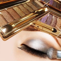 9 Colors Shimmer Eyeshadow Eye Shadow Palette & Makeup Cosmetic Brush Set Party Cocktail Wedding Long Lasting