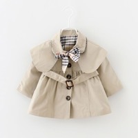 Fashion Spring Autumn Baby Girl Coat Turn-down Collar Cute Bow Holiday Newborn Jacket Infant Coats Infant Jackets For Girls