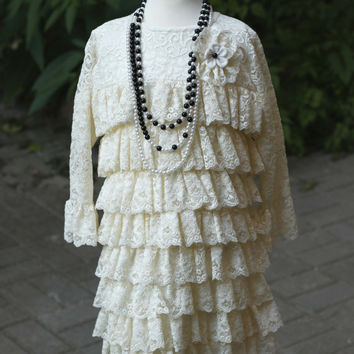 Lace white dress / Elegant dress / Ruffle dress / White dress for girls / Photo prop
