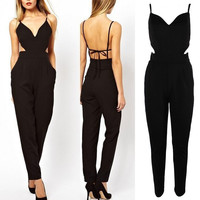 New Elegant Sexy Women halter strap Celeb V-neck Backless Playsuit Jumpsuit Pant